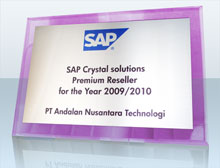 SAP Crystal Solutions Premium Reseller Award for the Year 2009/2010